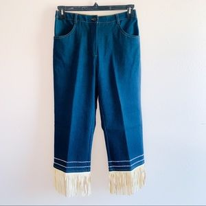 TAIGA Crop Jeans with Leather Fringe